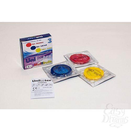 Фотография 1:  Разноцветные ароматизированные презервативы Unilatex Multifruits - 3 шт.