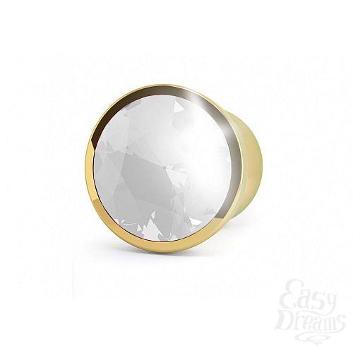 Фотография 2  Золотистая анальная пробка-конус с прозрачным кристаллом - 13,5 см.