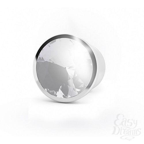 Фотография 2  Серебристая анальная пробка-конус с прозрачным кристаллом - 13,5 см.