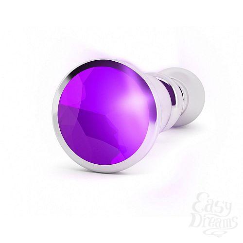 Фотография 2  Серебристая фигурная анальная пробка с фиолетовым кристаллом - 14 см.