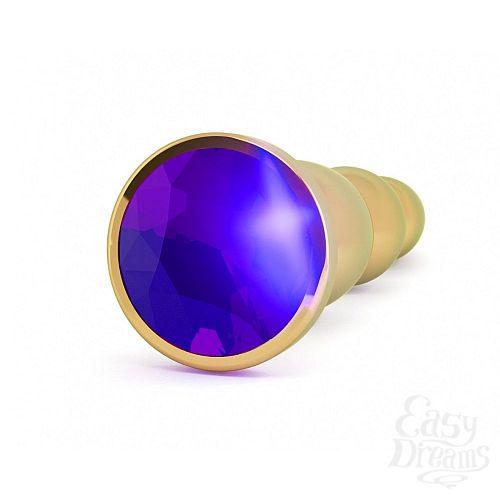 Фотография 2  Золотистая анальная пробка-ёлочка с фиолетовым кристаллом - 14 см.
