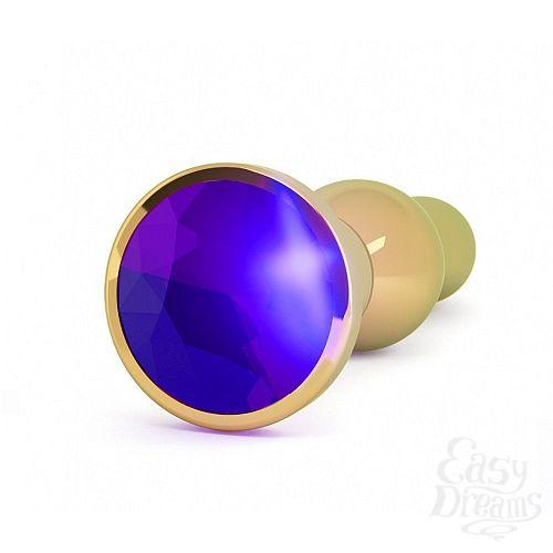 Фотография 2  Золотистая анальная пробка с фиолетовым кристаллом - 14 см.