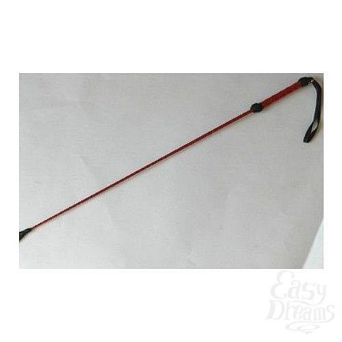 Фотография 2  Короткий красный плетеный стек с наконечником-ладошкой - 70 см.