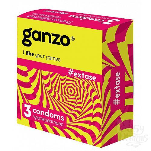 Фотография 1:  Презервативы анатомической формы с точечной и ребристой структурой Ganzo Extase - 3 шт.