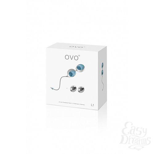 Фотография 1: OVO Вагинальные шарики из силикона L1 LOVE BALLS WHITE LIGHT BLUE