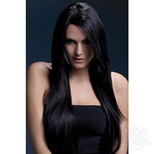 Фотография 1:  Темноволосый парик с косой чёлкой Amber