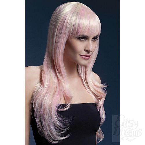 Фотография 1:  Парик цвета блонд с розовыми прядями