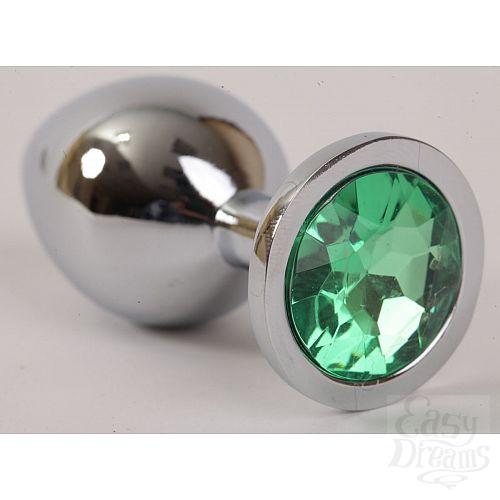 Фотография 1:  Серебристая анальная пробка с зеленым стразом - 8,2 см.