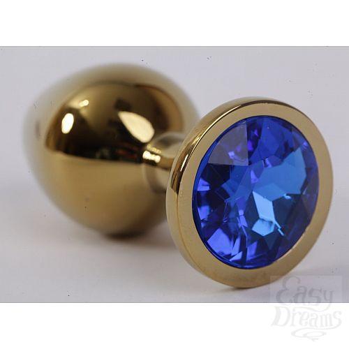 Фотография 1:  Золотистая анальная пробка с синим кристаллом - 9,5 см.