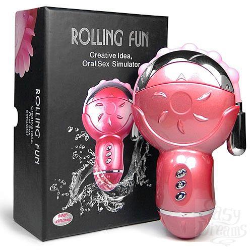 Фотография 2 Baile Клиторальный стимулятор с анальным отростком Rolling Fun, 27 см, Розовый
