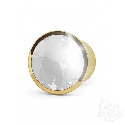 Фотография 2 Shotsmedia Анальная пробка с прозрачным кристаллом, 4,1 см., Золотой