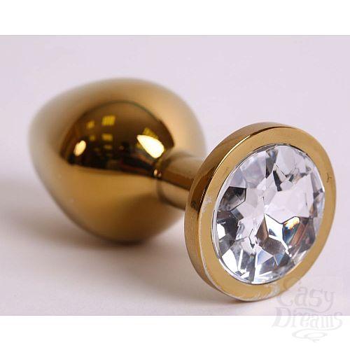 Фотография 1:  Золотистая анальная пробка с прозрачным кристаллом - 8,2 см.