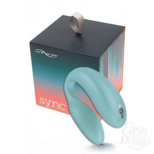 Фотография 1:  Голубой вибромассажер для пар We-Vibe Sync Aqua на радиоуправлении