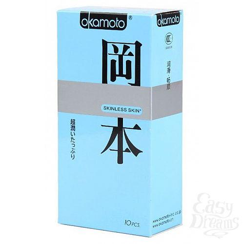 Фотография 1:  Презервативы в обильной смазке OKAMOTO Skinless Skin Super lubricative - 10 шт