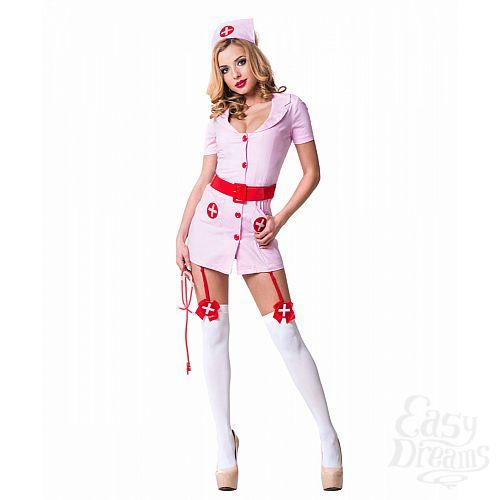 Фотография 1:  Le Frivole Costumes  Костюм Похотливая медсестра розовая 02211L-XL