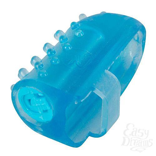 Фотография 1:  Голубая насадка на палец с вибрацией