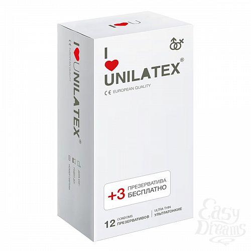 Фотография 1:  Ультратонкие презервативы Unilatex Ultra Thin - 12 шт. + 3 шт. в подарок