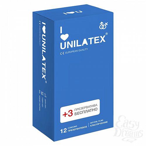 Фотография 1:  Классические презервативы Unilatex Natural Plain - 12 шт. + 3 шт. в подарок