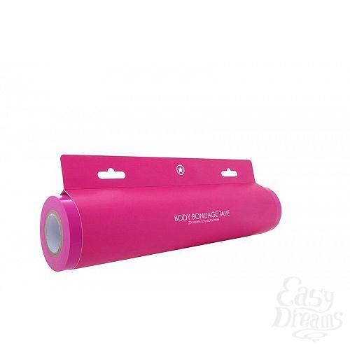 Фотография 3  Розовая широкая лента для тела Body Bondage Tape - 20 м.