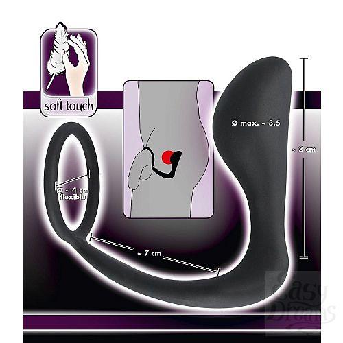 Фотография 4  Чёрное эрекционное кольцо с анальной пробкой Black Velvets Ring   Plug