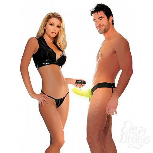Фотография 7  Флуоресцентный полый страпон унисекс с вибрацией For Him or Her  Vibrating Hollow Strap-On - 15 см.