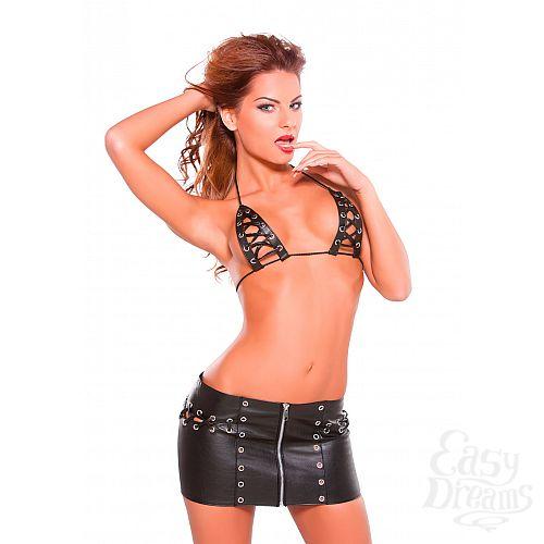 Фотография 1: Allure Эротический комплект Lace Up Skirt & Bra Set - Allure, One Size, Черный
