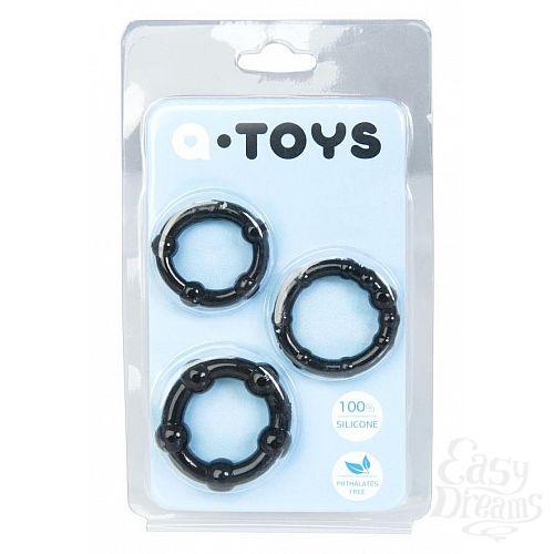 Фотография 1:  Набор из 3 чёрных эрекционных колец A-toys