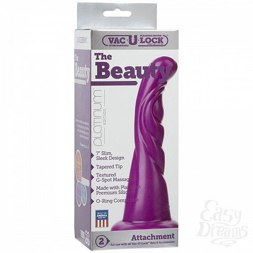 Фотография 2  Фиолетовая рельефная насадка Vac-U-Lock Platinum Edition The Beauty - 18,8 см.