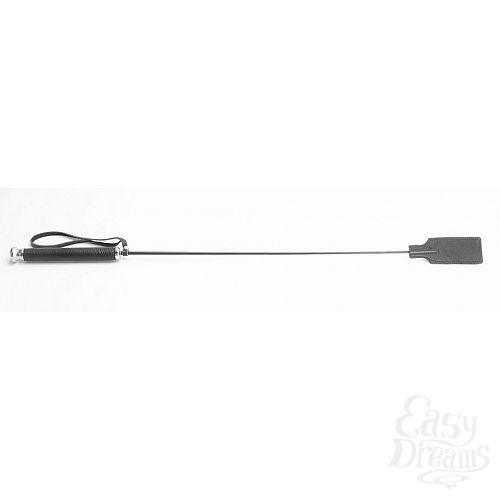 Фотография 1:  Чёрный кожаный стек с прямоугольным наконечником - 66 см.