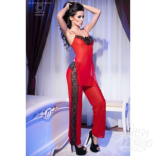 Фотография 3 Chilirose Роскошный комплект с брюками Chilirose, S/M, Красный