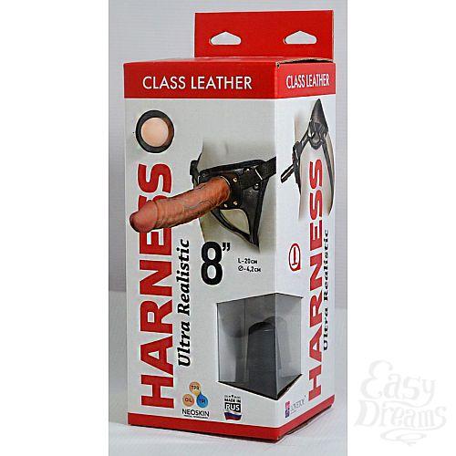 Фотография 2  Насадка-фаллоимитатор на кожаных трусиках Harness Ultra Realistic 8  - 20 см.