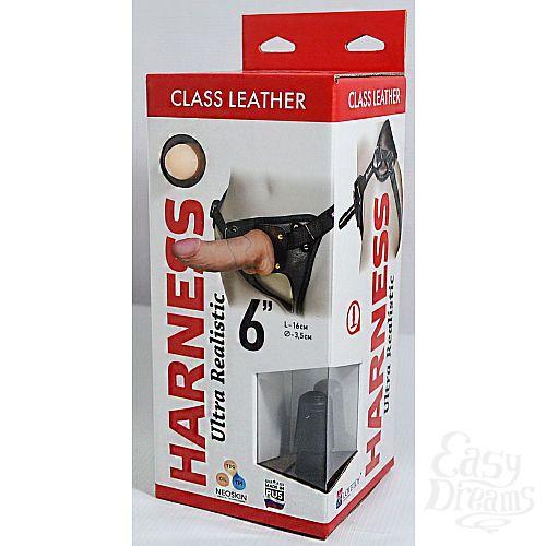 Фотография 1:  Насадка-фаллоимитатор на кожаных трусиках Harness Ultra Realistic 6  - 18,5 см.
