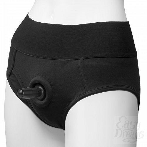 Фотография 1:  Трусики-брифы с плугом Vac-U-Lock Panty Harness with Plug Briefs - S/M
