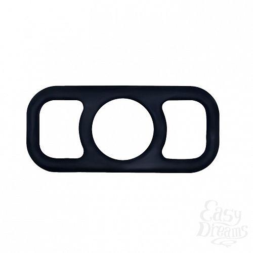 Фотография 2  Чёрное эрекционное кольцо на пенис с петлями по бокам