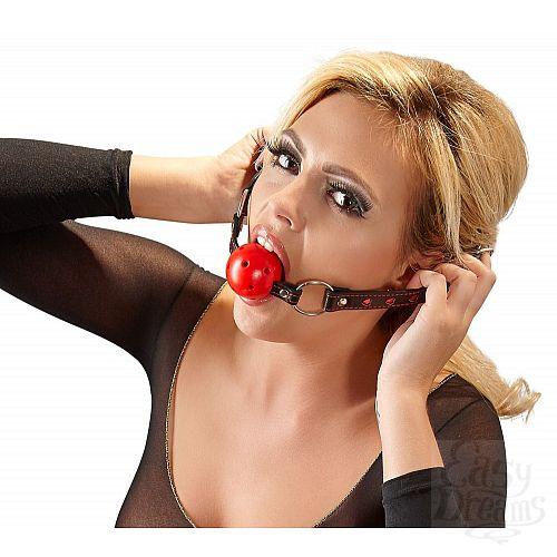 Фотография 4  Кляп-шар с отверстиями для дыхания на ремешках с сердечками