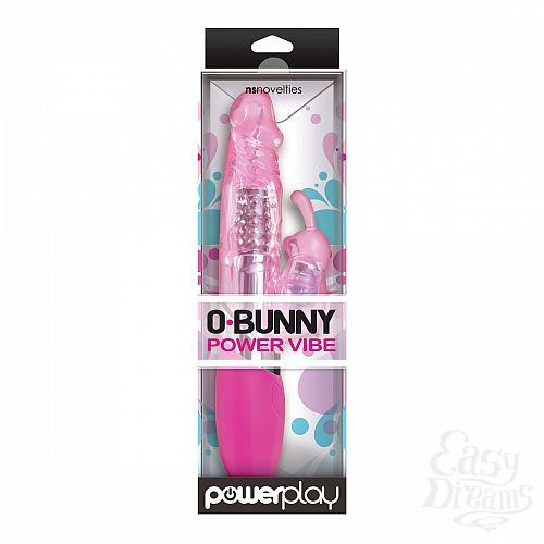 Фотография 2  Розовый вибратор с вращением бусин и клиторальным зайчиком Power Play O-Bunny - 21,5 см.