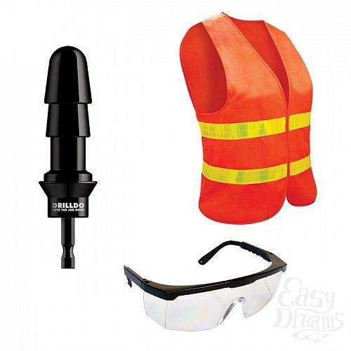Фотография 1:  Комплект для секс-дрели DRILLDO - бит-адаптер, очки, жилет