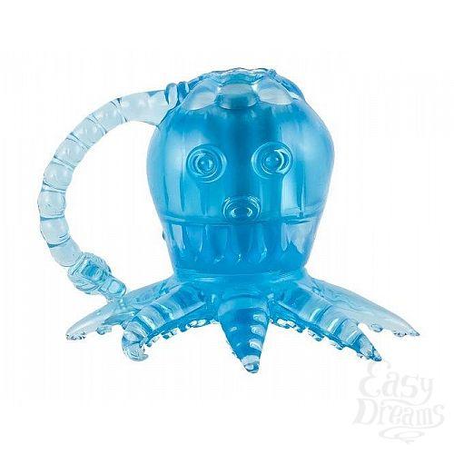 Фотография 1:  Голубой вибростимулятор в виде осьминога