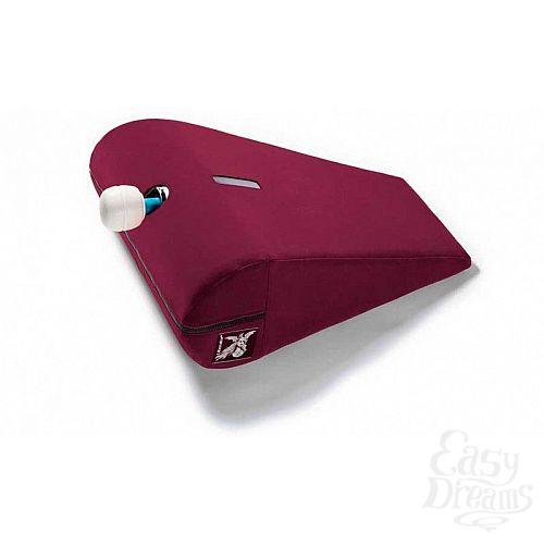 Фотография 1:  Вишнёвая малая вельветовая подушка для любви Liberator R-Axis Magic Wand с отверстием под массажёр