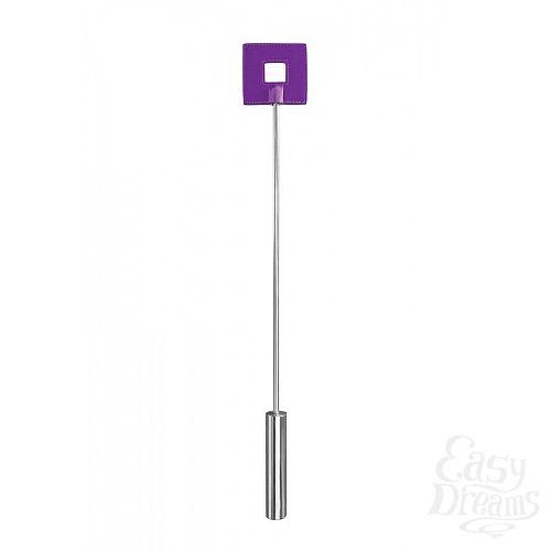 Фотография 1:  Фиолетовая шлёпалка Leather Square Tiped Crop с наконечником-квадратом - 56 см.