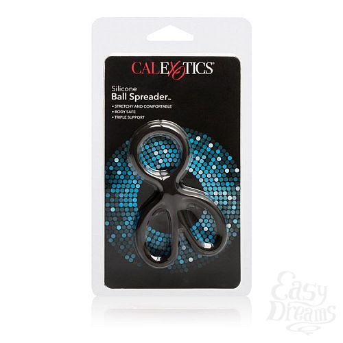Фотография 3  Чёрное эрекционное кольцо с подхватами для мошонки Silicone Ball Spreader