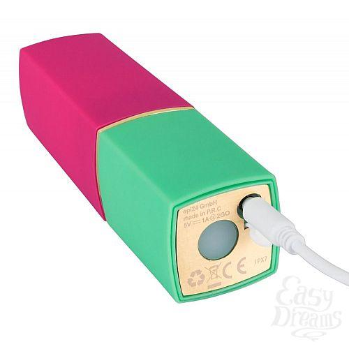 Фотография 2  Бесконтактный стимулятор клитора в форме помады Womanizer W-260 2GO в розово-зелёном корпусе
