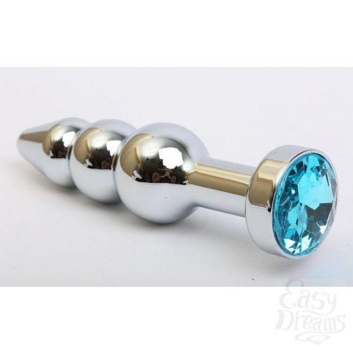 Фотография 1:  Серебристая анальная ёлочка с голубым кристаллом - 11,2 см.