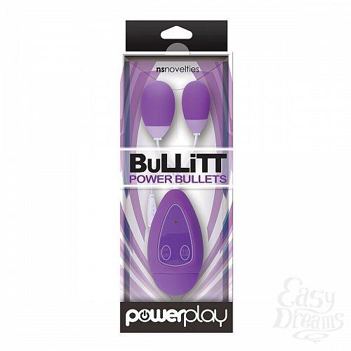 Фотография 2  Два фиолетовых виброяйца с пультом управления вибрацией BuLLiTT Double