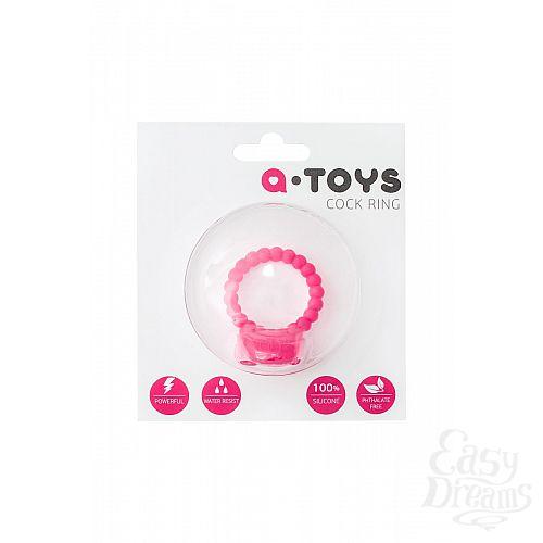 Фотография 3  Розовое виброкольцо на пенис A-toys из силикона