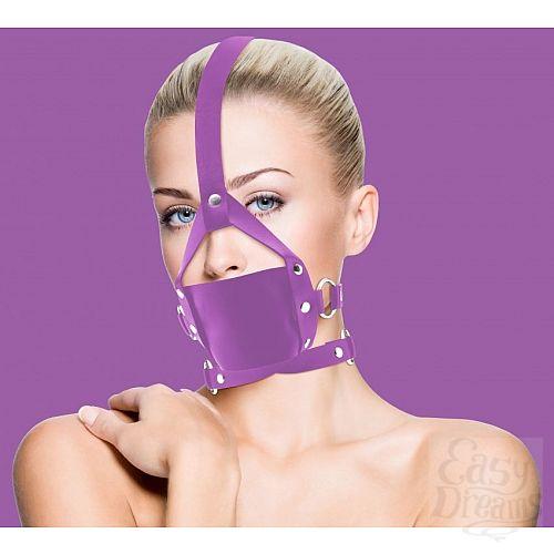 Фотография 1:  Фиолетовый кожаный кляп Leather Mouth Gag