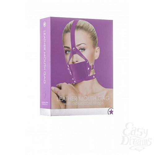 Фотография 2  Фиолетовый кожаный кляп Leather Mouth Gag