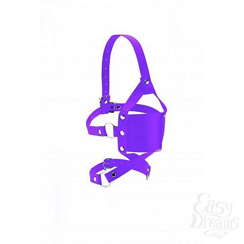 Фотография 3  Фиолетовый кожаный кляп Leather Mouth Gag