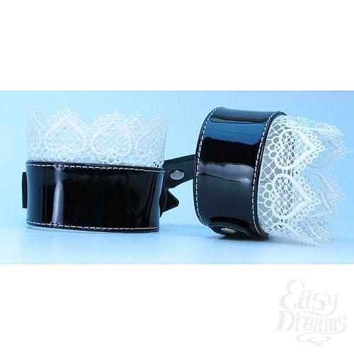Фотография 2  Изысканные чёрные наручники с белым кружевом