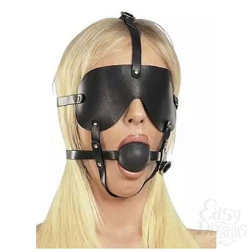 Фотография 1:  Чёрная лаковая маска-сбруя с кляпом